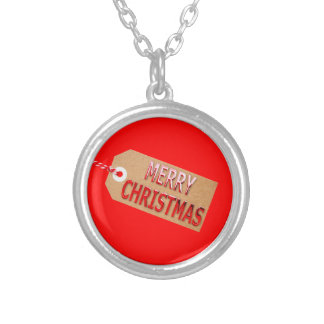 Merry Christmas Gift Tag Silver Plated Necklace