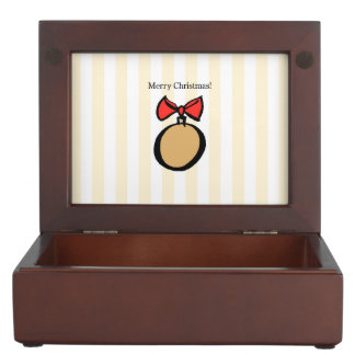 Merry Christmas Gold Ornament Keepsake Box Yellow