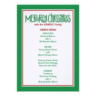 Merry Christmas green Dinner Menu Announcement