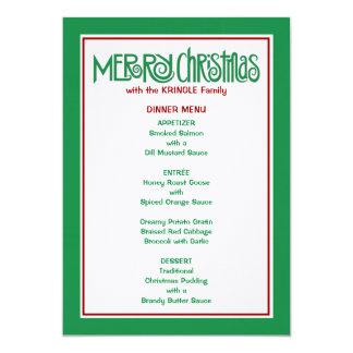 Merry Christmas green Dinner Menu 5x7 Paper Invitation Card