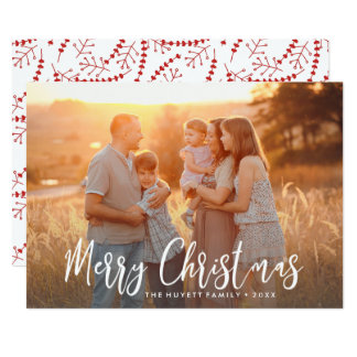 Merry Christmas Hand-lettered Holiday Photo Card