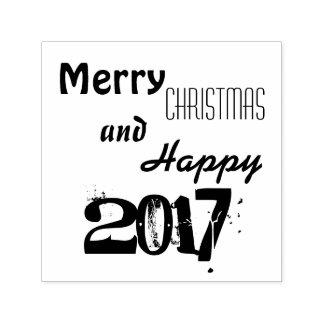Merry Christmas Happy 2017 Typography Stamp