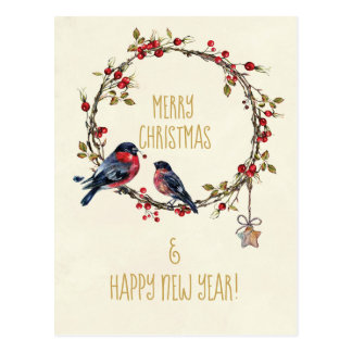 Merry Christmas holiday card birds holly berries