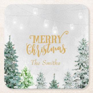 Merry Christmas holiday coaster snow winter trees