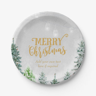 Merry Christmas holiday plate snow winter trees 7 Inch Paper Plate