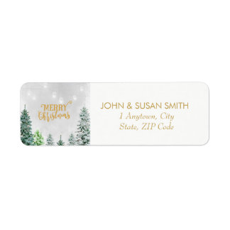 Merry Christmas holiday return address labels