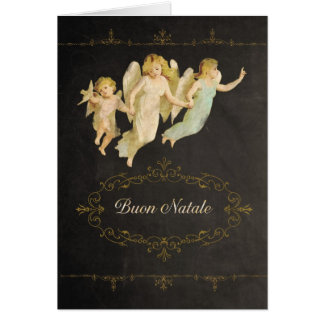 Merry Christmas in Italian, Buon Natale, angels Card