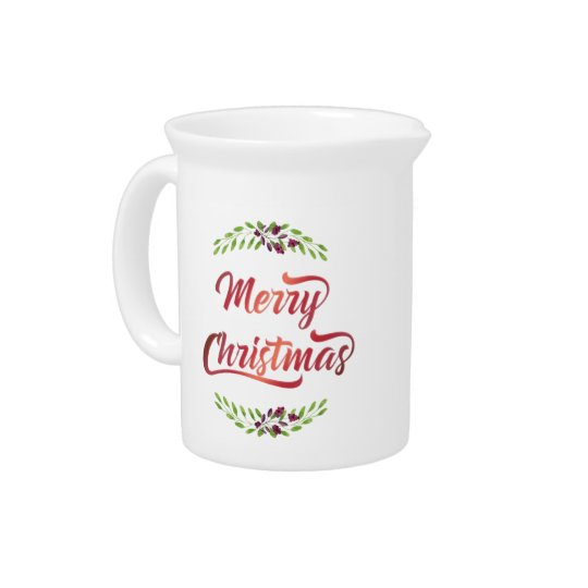Merry Christmas Laurels Red ID293 Beverage Pitchers