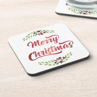 Merry Christmas Laurels Red ID293 Coaster