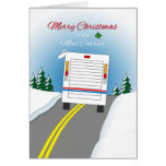 Merry Christmas Mailtruck for Mail Carrier Greeting Card