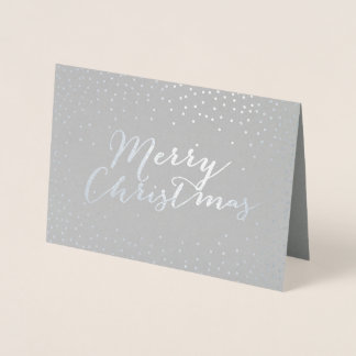 Merry Christmas Modern Silver Foil Confetti Dots Foil Card