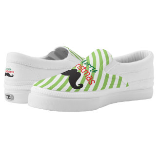 Merry Christmas Mustache Slip-On Shoes