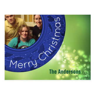 Merry Christmas Photo Card Blue Green Bokeh Lights