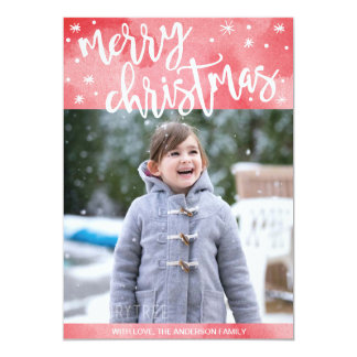 Merry Christmas Photo card, watercolor, script Card