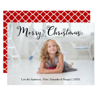 Merry Christmas Photo Swirly Font - Christmas Card