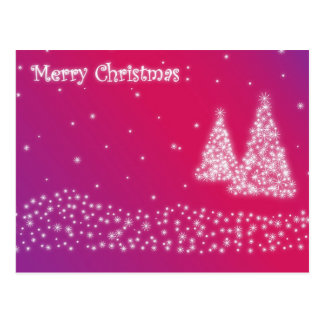 Merry Christmas Pink Glittery Postcard