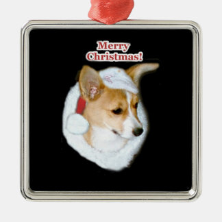 Merry Christmas Pippin Pup Prem. Square Ornament