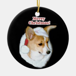 Merry Christmas Pippin Pup Round Ornament