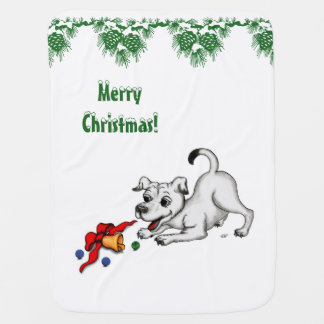 Merry Christmas! Puppy with Bell and Ball Baby Blanket