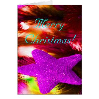 Merry Christmas Purple Star Greeting Card