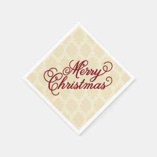 Merry Christmas Quatrefoil Paper Napkins