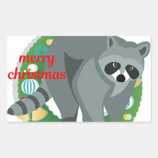 merry christmas raccoon rectangular sticker