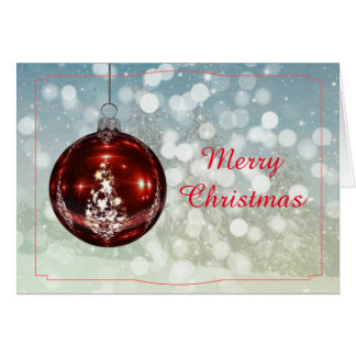 Merry Christmas | Red Bauble Greeting Card