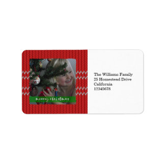 Merry Christmas Red Sweater Address Label