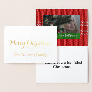 Merry Christmas Red Sweater Foil Card
