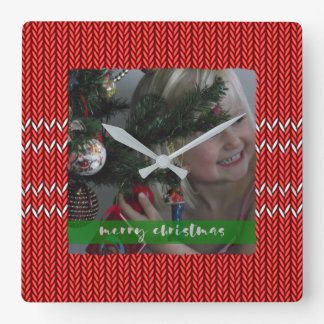 Merry Christmas Red Sweater Square Wall Clock