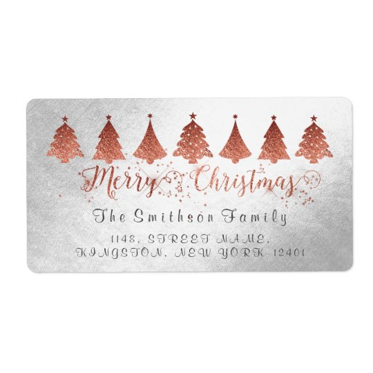 Merry Christmas Rose Pink Gold Silver Address