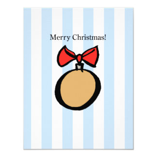 Merry Christmas Round Gold Ornament 4.25 X 5. Card