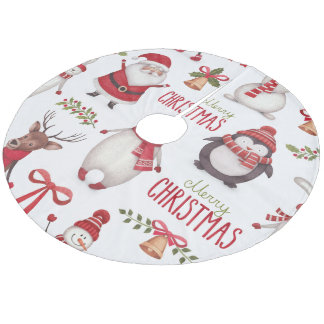 Merry Christmas Santa Claus And Friends Fleece Tree Skirt