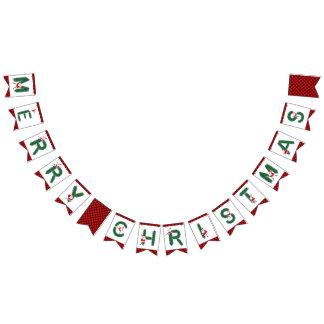 Merry Christmas Santa Pine Needles - Bunting Flags