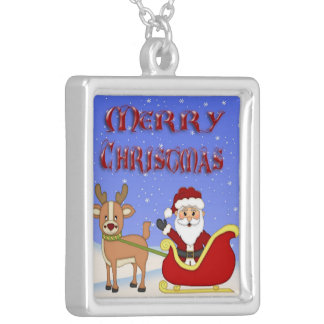 Merry Christmas Santa Square Necklace