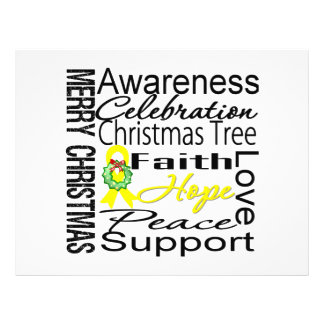 Merry Christmas Sarcoma Cancer Ribbon Collage Flyers