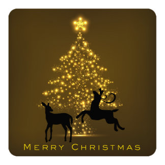 Merry Christmas Silhouette Deer and Tree Card