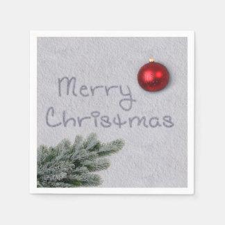 Merry Christmas Snow Writing - Paper Napkin