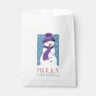 Merry Christmas Snowman Illustration Favor Bags