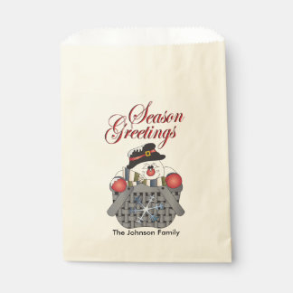 Merry Christmas Snowman in a Basket Favour Bags