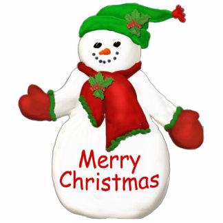 Merry Christmas Snowman Ornament Photo Sculpture Decoration