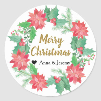 Merry Christmas Sticker - Holly Berry Gold xmas