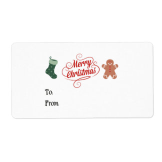 Merry Christmas Stocking Gingerbread Man Shipping Label