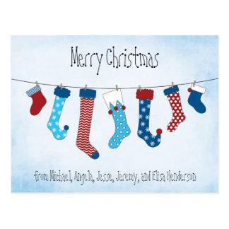 Merry Christmas Stockings Postcard