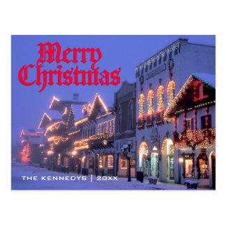 Merry Christmas - Street Christmas lights at night Postcard