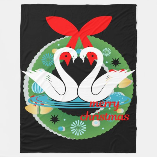 merry christmas swans blanket