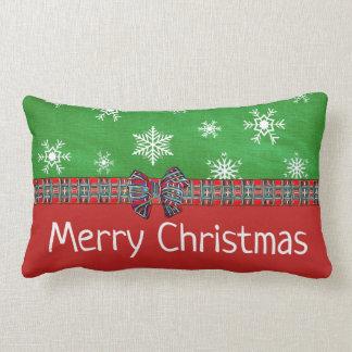 Merry Christmas Tartan Pattern Snowflakes Pillow