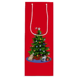 Merry Christmas Tree, Birds, Cat, Dog Wine Gift Bag