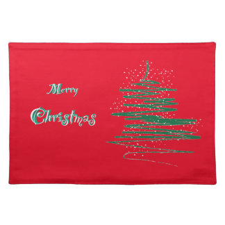 Merry Christmas Tree Snowflakes Placemat