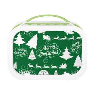 Merry Christmas Trees Santa Reindeer Holiday Lunchbox